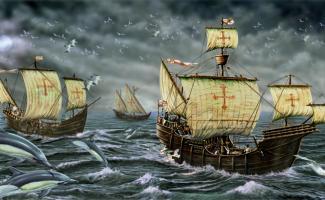 Ilustracion carabelas de Colón